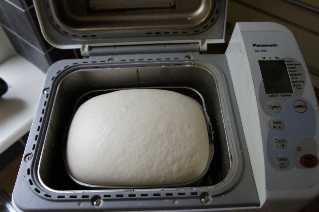 Risen dough in breadmaker