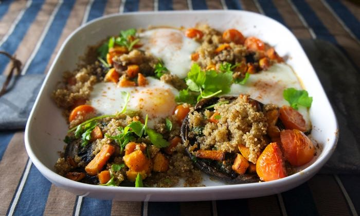 QUINOA WITH ROASTED GARLIC MUSHROOMS AND EGGS
