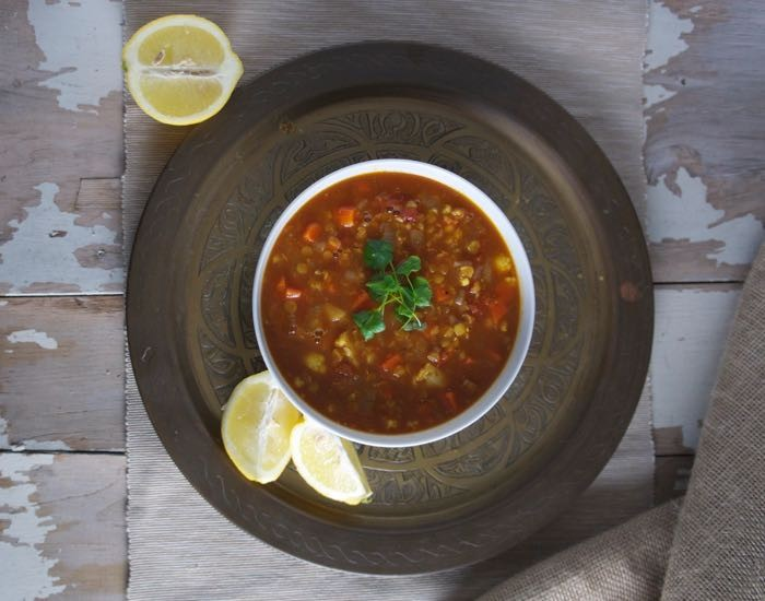 SPICY MOROCCAN LENTIL AND VEGETABLE SOUP