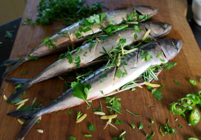 BBQ'd MACKEREL WITH ROSEMARY, PARSLEY AND LEMON