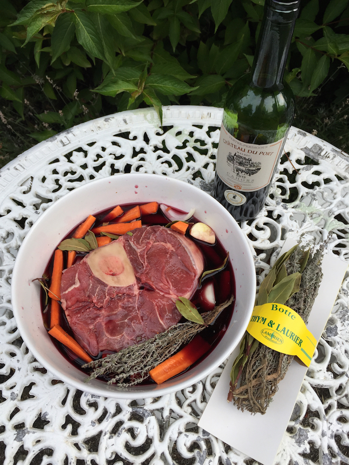 Michael's fabulous shin of  local beef marinating in local Cahors black wine